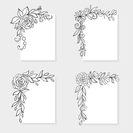 flower  hand: Set of black and white hand drawn corner floral borders. Illustration