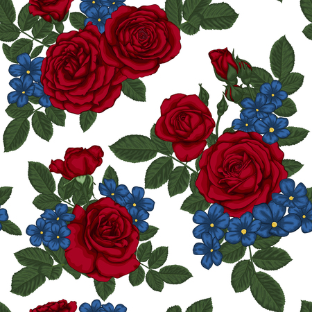 Beautiful vintage seamless pattern with bouquets of red roses and leaves. design greeting card and invitation of the wedding, birthday, Valentines Day, mothers day and other holiday