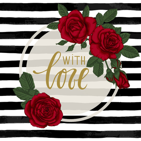 black and white watercolor striped background with Hand drawn lettering with love. design holiday greeting card and invitation of wedding, Happy mother day, birthday, Valentine's day and seasonal holiday