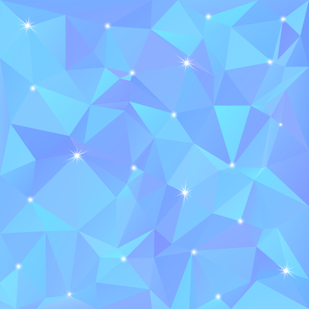 Beautiful blue abstract background of triangles and polygons with flashes of light in the corners. Vector illustration