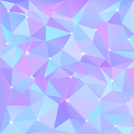 diamond texture: Beautiful blue abstract background of triangles and polygons with flashes of light in the corners. Vector illustration