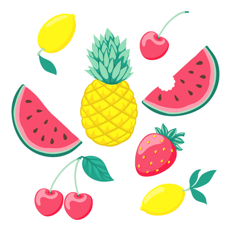 set of stylized fruits, a symbol of summer. Collection of scrapbooking elements. design for holiday greeting card and invitation of seasonal summer holidays, beach parties, tourism and travel Illustration
