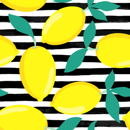 Seamless background. Lemons with leaves on black and white watercolor stripes. design for holiday greeting card and invitation of seasonal summer holidays, summer beach parties, tourism and travel Çizim
