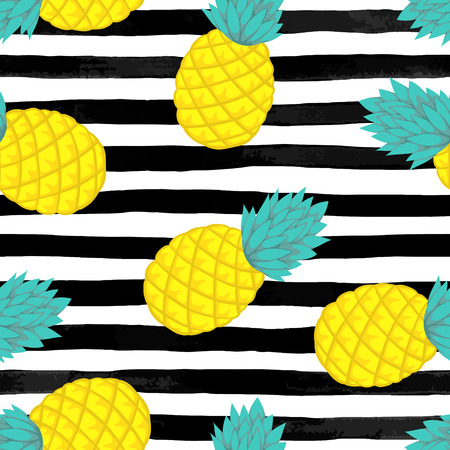Seamless background with pineapple on black and white watercolor stripes . design for holiday greeting card and invitation of seasonal summer holidays, summer beach parties, tourism and travel Vektorové ilustrace