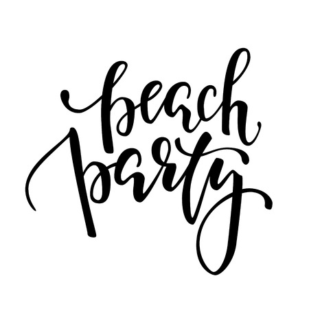typo: Beach party. Hand drawn calligraphy and brush pen lettering. design for holiday greeting card and invitation of seasonal summer holidays, summer beach parties, tourism and travel.