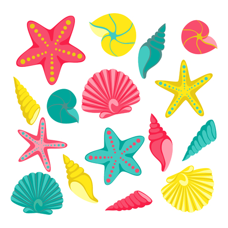 Seashells set. design for holiday greeting card and invitation of seasonal summer holidays, summer beach parties, tourism and travel.