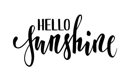 Hello sunshine. Hand drawn calligraphy and brush pen lettering. design for holiday greeting card and invitation of seasonal summer holidays, summer beach parties, tourism and travel.