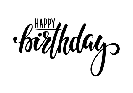 typo: Happy birthday. Hand drawn calligraphy and brush pen lettering. design for holiday greeting card and invitation of baby shower, birthday, party invitation. Illustration