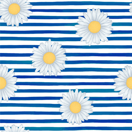 detailed image: Beautiful seamless pattern with blue watercolor stripes. hand painted brush strokes, striped background. Vector illustration