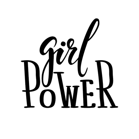 Girl power. Hand drawn calligraphy and brush pen lettering. design for holiday greeting card and invitation, poster, tee print. Isolated on white background. Vector illustration.