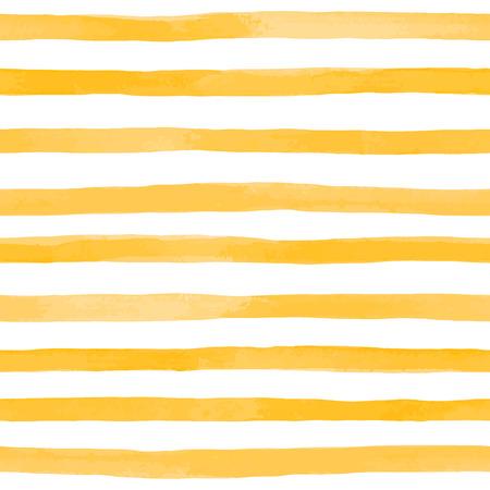 Beau modèle sans couture avec des rayures aquarelles jaune orange. coups de pinceau peints à la main, fond rayé. Illustration vectorielle Banque d'images - 84498581