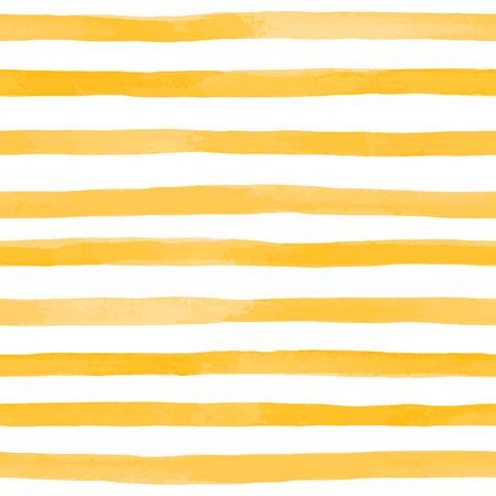Beautiful seamless pattern with Orange yellow watercolor stripes. hand painted brush strokes, striped background. Vector illustration. Ilustração