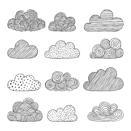 Beautiful set of doodle clouds. Isolated sketch. design background greeting cards and invitations to the wedding, birthday, mother s day and other seasonal autumn holidays