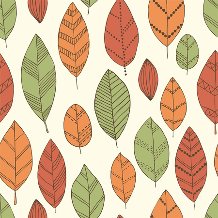 Beautiful seamless doodle pattern with vintage leaves sketch. design background greeting cards and invitations to the wedding, birthday, mother s day and other seasonal autumn holidays