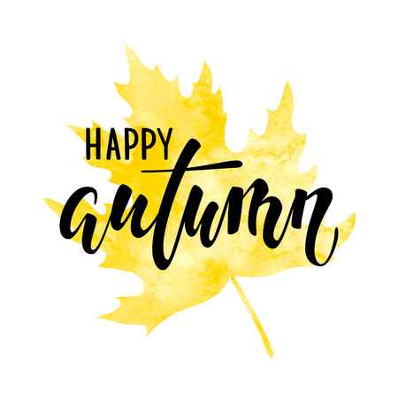 holiday shopping: Hello autumn text on yellow watercolor maple leaf Hand drawn calligraphy, brush pen lettering. design for holiday greeting card and invitation of autumn holiday, shopping promo leaflet Illustration