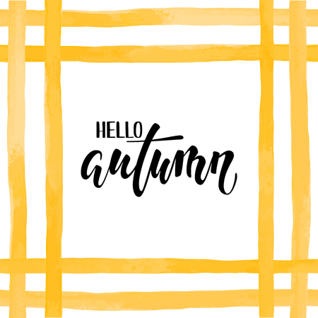 Orange yellow watercolor stripes. Hello autumn. Hand drawn calligraphy and brush pen lettering. design for holiday greeting card and invitation of seasonal autumn holiday