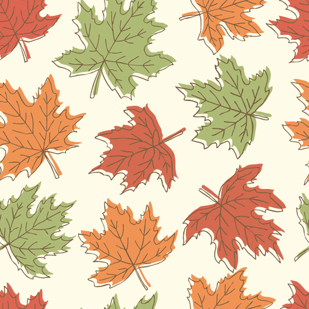 hand print: Beautiful seamless doodle pattern with vintage maple leaves sketch. design background greeting cards and invitations to the wedding, birthday, mother s day and other seasonal autumn holidays