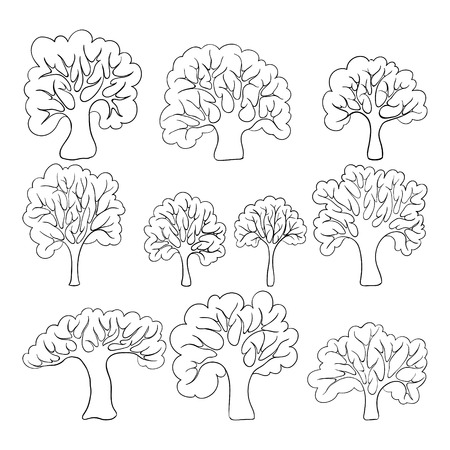Beautiful black and white set of hand drawn doodle trees Isolated sketch for design background greeting cards and invitation to the wedding, birthday, mother s day and other seasonal autumn holidays. Ilustrace