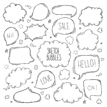 Set of hand drawn sketch Speach bubbles. Vector illustration Vectores