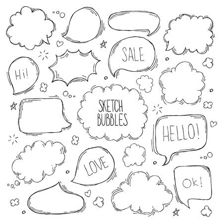 Set di schizzo disegnato a mano Speculare bolle. Illustrazione vettoriale Vettoriali