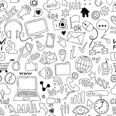 Nahtloses Muster von Hand gezeichneten Gekritzelkarikaturgegenständen und -symbolen auf dem Social Media-Thema
