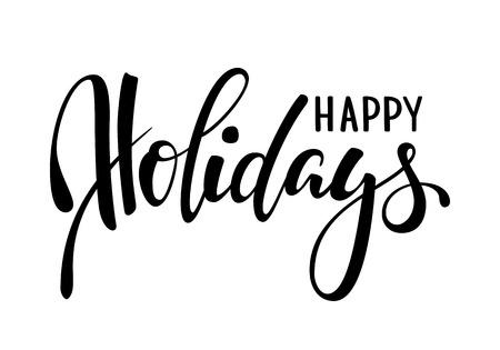Joyeuses fêtes. Calligraphie créative dessinés à la main, lettrage de stylo pinceau. conception des cartes de voeux de vacances et des invitations de joyeux Noël et bonne année, bannière, affiche, logo, vacances saisonnières.
