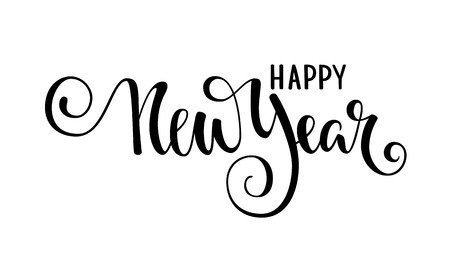 Happy New Year. Hand drawn creative calligraphy, brush pen lettering. design holiday greeting cards and invitations of Merry Christmas and Happy New Year, banner, poster, logo, seasonal holiday. Illustration