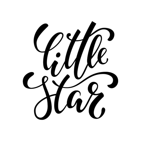 little star. Hand drawn creative calligraphy and brush pen lettering isolated on white background. design holiday greeting cards, invitations, print, t-shirts, home decor.