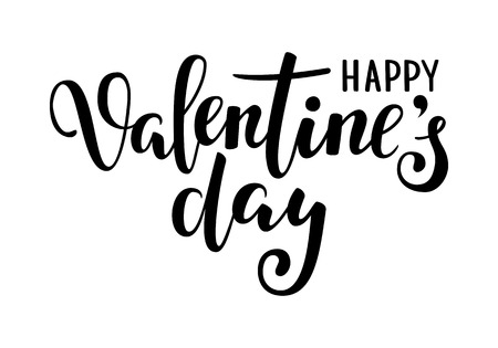 Happy Valentine s day. Hand drawn creative calligraphy and brush pen lettering isolated on white background. design for holiday greeting card and invitation wedding, Valentine s day and Happy love day. Illusztráció