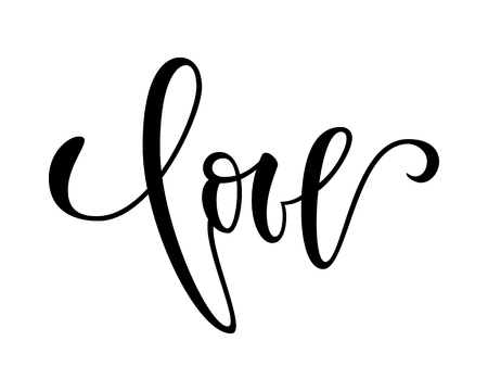 Love. Hand drawn creative calligraphy and brush pen lettering isolated on white background. design for holiday greeting card and invitation wedding, Birthday, Valentine s day and Happy love day.