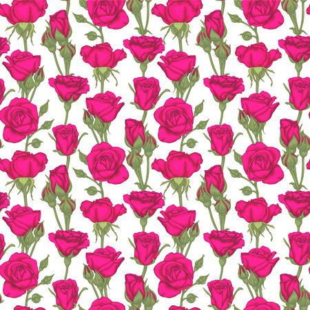 Beautiful vintage seamless pattern with roses, rosebuds, leaves and stems. Design greeting card and invitation of the wedding, birthday, Valentines day, mothers day and other holiday.