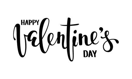 Happy Valentines day hand drawn creative calligraphy and brush pen lettering isolated on white background. Design for holiday greeting card and invitation wedding, Valentines day and Happy love day.