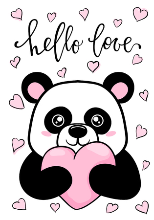 hello love. Hand drawn creative calligraphy and brush pen lettering. Cute Panda holds big heart. design for holiday greeting card and invitation wedding, birthday. Valentine s day and Happy love day. Ilustração