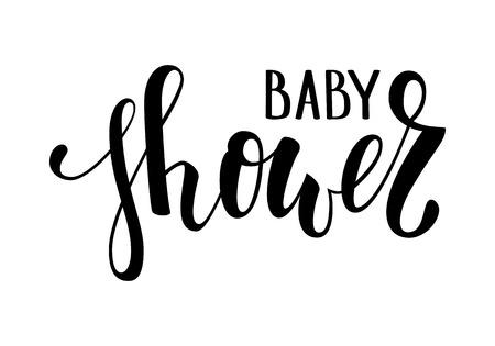 Douche de bébé. Lettrage de calligraphie et de pinceau dessiné à la main. conception pour carte de voeux de vacances et invitation de baby shower, anniversaire, invitation de fête. Vecteurs
