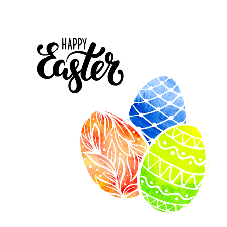 Happy Easter Hand drawn calligraphy and brush pen lettering with watercolor eggs. design for holiday greeting card, invitation, posters, banners of the happy Easter day Vettoriali