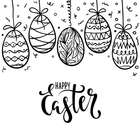 Happy Easter hand drawn calligraphy and brush pen lettering with frame of doodle eggs. Design for holiday greeting card, invitation, posters, banners of the happy Easter day Ilustração