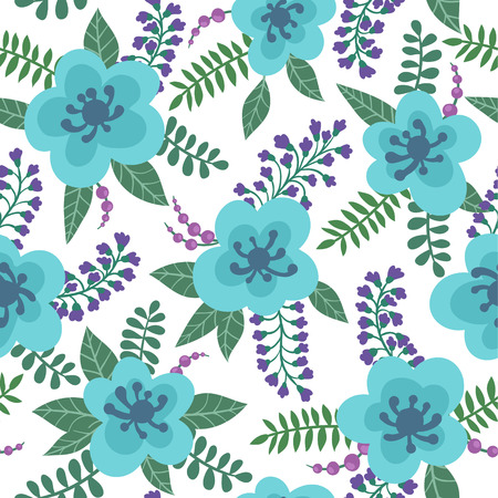 Floral pattern with blue flowers, plants, branches and berries on a white background. design greeting card and invitation of wedding, happy mother day, birthday, Valentines day and seasonal holiday Ilustração