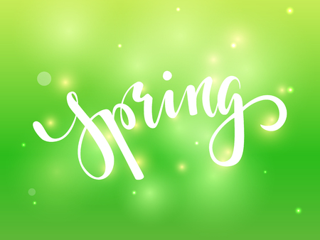 Spring. Hand drawn calligraphy and brush pen lettering on green blured background with bokeh. design for holiday greeting card, invitation, posters, sale, banners of the happy spring. Ilustração