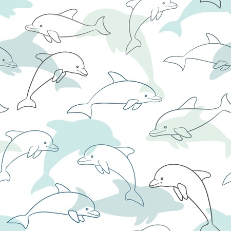 Seamless pattern with dolphin on white. design for holiday greeting card and invitation of baby shower, birthday, child clothes, summer holidays, beach party, traweling and vacations.