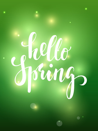 Spring. Hand drawn calligraphy and brush pen lettering on green blured background with bokeh. design for holiday greeting card, invitation, posters, sale, banners of the happy sping.