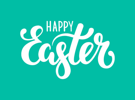 happy Easter Hand drawn calligraphy and brush pen lettering. design for holiday greeting card and invitation of the happy Easter day.
