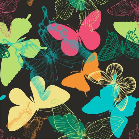 Seamless pattern with decorative butterflies in scandinavian style.