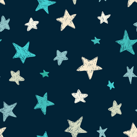 Vector kids pattern with doodle textured stars. Vector seamless background, blue, gray, white, scandinavian style, Ilustração