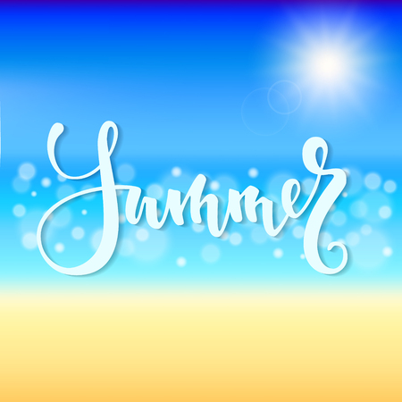 Summer time. Hand drawn brush pen lettering, Beautiful Summer beach with shiny sparkling sea water. design for greeting card and invitation of seasonal summer holiday.