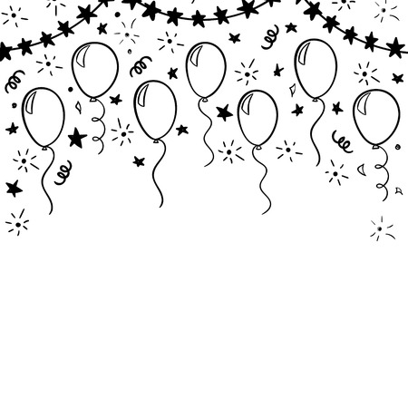 hand drawn doodle black and white balloon. design holiday greeting card and invitation of wedding, Happy mother day, birthday, Valentine s day and baby shower holidays Ilustração