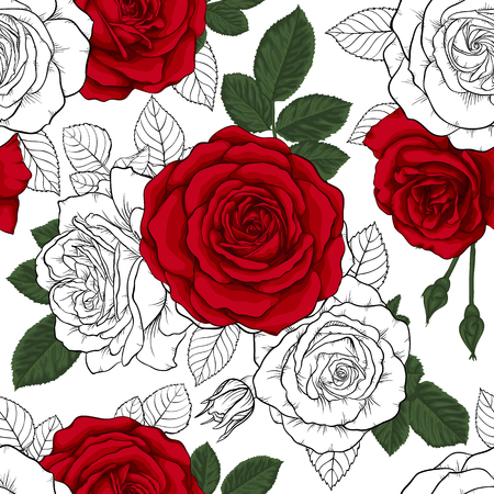 Beautiful vintage seamless pattern with red, black and white roses. Design greeting card and invitation of the wedding, birthday, Valentines day, Mothers day and other holidays. Ilustracja