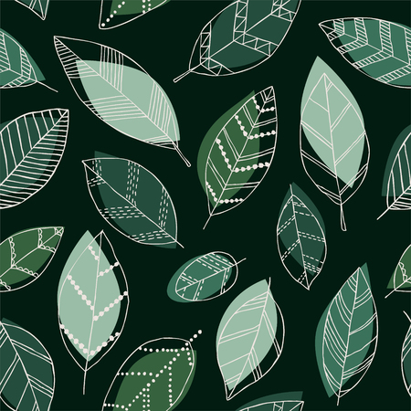 Beautiful seamless doodle pattern with vintage leaves sketch. Design background greeting cards and invitations to the wedding, birthday, mothers day and other seasonal autumn, spring, summer holidays.