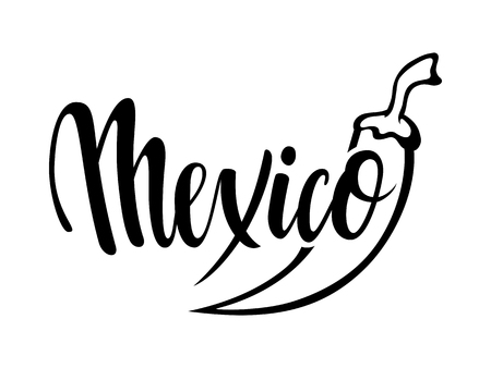 Viva Mexico. Hand drawn lettering phrase isolated on white background. Design element for advertising, poster, announcement, invitation, party, greeting card, fiesta, bar and restaurant menu.