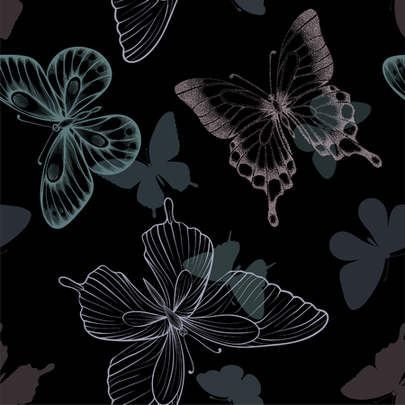 Seamless pattern with decorative butterflies in scandinavian style. design greeting card and invitation of wedding, birthday, Valentine s Day, mother s day, spring, summer holidays, fabric, textile