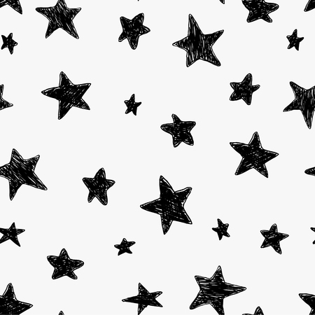 Beautiful black and white seamless night sky pattern with doodle textured stars, hand drawn